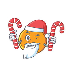 Santa orange fruit cartoon character with candy vector