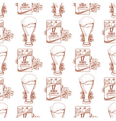 Seamless pattern with a glass of foamy beer and a vector