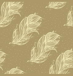 Seamless pattern with big feather vector