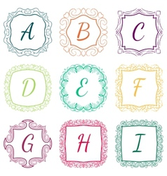 Set of monograms hand drawn style colorful with vector image vector image