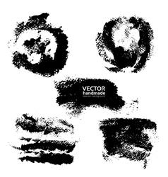 Set of prints and textured brush strokes paint vector image