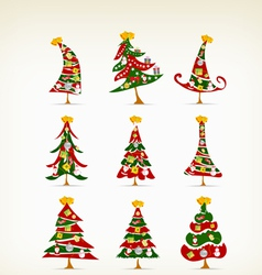set vintage christmas tree with icon and element vector image vector image