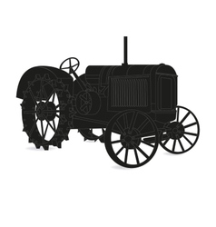 The silhouette of the old tractor vector image