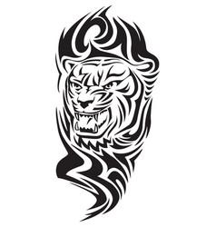 Tiger head tattoo vintage engraving vector
