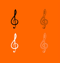 Treble clef black and white set icon vector