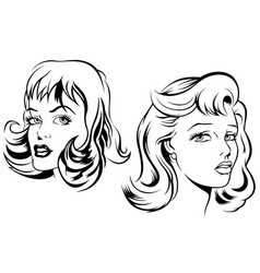 two sketches of female face vector image