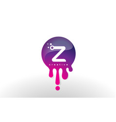 z letter splash logo purple dots and bubbles vector image vector image