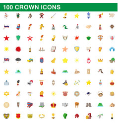 100 crown icons set cartoon style vector image vector image