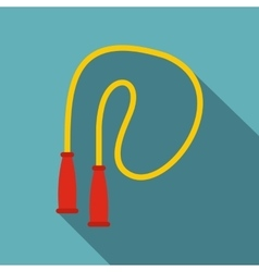 Yellow skipping rope icon flat style vector