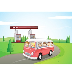 Children riding on a bus vector