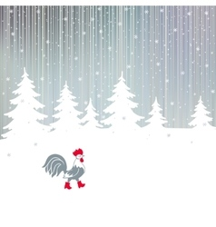 Cock walking on a snowy winter the magical forest vector