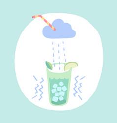 Glass of lemonade cloud and rain cocktail vector