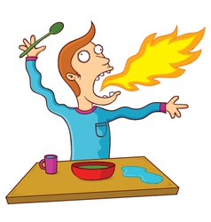 Man eating hot food vector