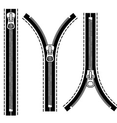 Zipper black symbols vector