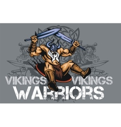 Viking norseman mascot cartoon with two swords vector