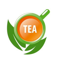 Logo mug tea and green leaves vector