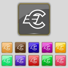 Euro eur icon sign set with eleven colored buttons vector