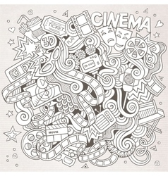Cartoon hand-drawn cinema doodle sketchy vector