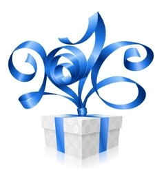 Blue ribbon and gift box 2016 vector