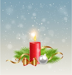 Christmas background with red candle vector