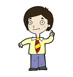 Comic cartoon school boy answering question vector