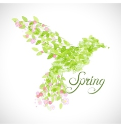 Flying beautiful bird with flowers and green vector