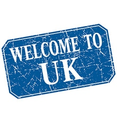 Welcome to uk blue square grunge stamp vector