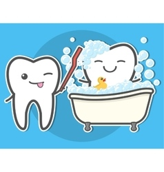 Tooth brushing toth in the bath vector