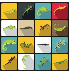 Lizard icons set flat style vector