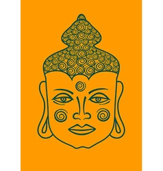 Outline face of buddha vector