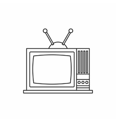 Retro tv icon outline style vector
