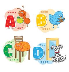 alphabet letter a b c d an ant bird cat dog vector image vector image
