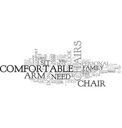 Arm chairs text word cloud concept vector
