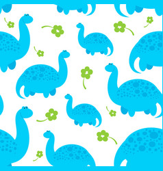 Blue cartoon dinosaur pattern vector