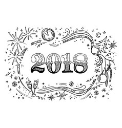 cartoon doodles 2018 hand drawn new year vector image