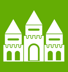 Children house castle icon green vector