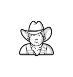 Contour flat character cowboy icon hat and cape vector image vector image