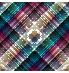 Cross-stitch on geometric abstract pattern vector