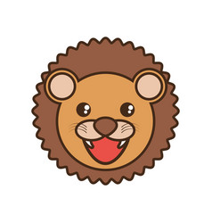 Cute lion face kawaii style vector