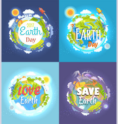 Earth day 2017 advertising posters collection vector