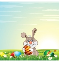 Easter Bunny Egg Hunt on Green Meadow vector image vector image