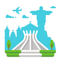 Flat design brasila cathedral vector