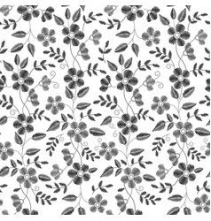 floral embroidery seamless pattern with isolated vector image