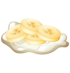 Fresh cream with banana slices vector image