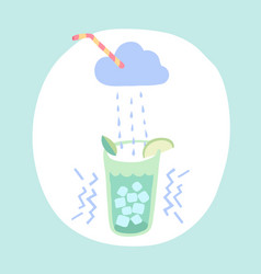 glass of lemonade cloud and rain cocktail vector image