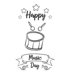 Happy music day hand draw card style vector