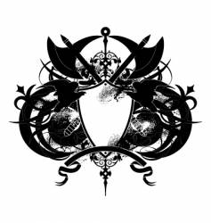 Heraldry shield with axe vector