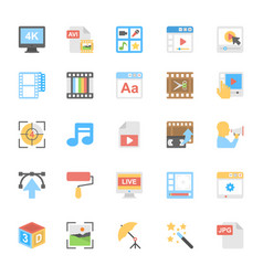 multimedia flat colored icons 8 vector image