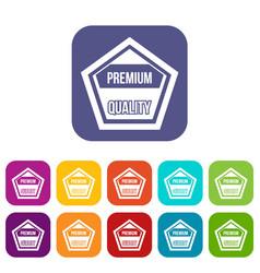Premium quality label icons set vector