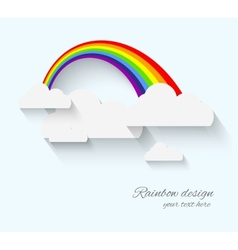 Rainbow and clouds in flat style with long whadow vector image